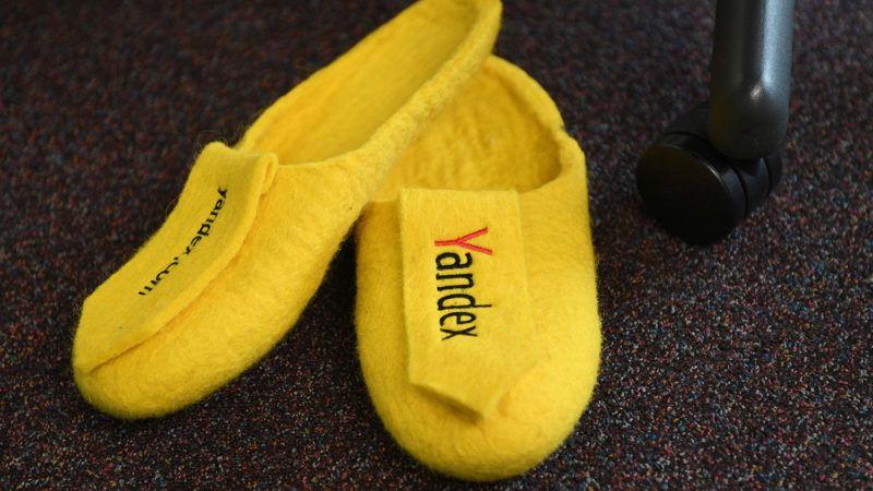 3196215 09/20/2017 Branded slippers in the Yandex office in Moscow. On September 23, 2017, Yandex celebrates 20 years. Valeriy Melnikov/Sputnik