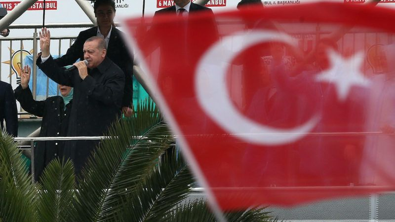 ISTANBUL, TURKEY - MAY 6 : Turkish President Recep Tayyip Erdogan addresses the crowd before attending AK Party's 6th ordinary provincial congress in Istanbul, Turkey on May 6, 2018. Orhan Akkanat / Anadolu Agency