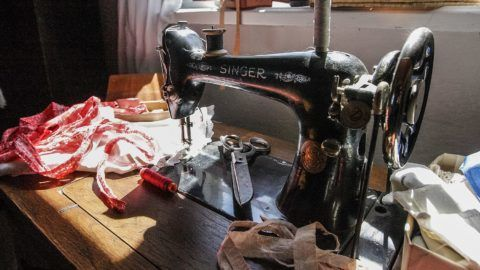 Singer sewing machine is seen in Kashubian Etnographic Park - the open air museum in Wdzydze Kiszewskie on 30 April 2011  (Photo by Michal Fludra/NurPhoto)