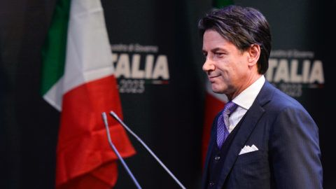 Giuseppe Conte,  Public Administration Minister, during the presentation of would-be cabinet team ahead of elections on March 4 made by the leader of the Italy's populist Five Star Movement, Luigi Di Maio, on march 01, 2018 in Rome, Italy. (Photo by Silvia Lore/NurPhoto)