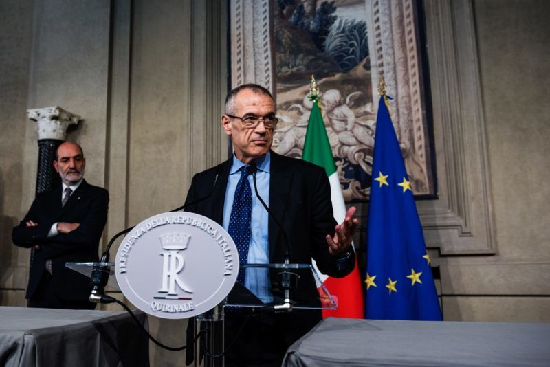 Carlo Cottarelli, former director of the IMF, addresses journalists after speaking with Italian President Sergio Mattarella on May 28, 2018 at the Quirinale presidential palace in Rome, Italy. Giuseppe Conte, Italy's Prime Minister candidate, had quit after 5 Star Movement (M5S) and Northern League (LN) appointee as finance minister Paolo Savona was rejected by Italian President Sergio Mattarella. (Photo by Michele Spatari/NurPhoto)