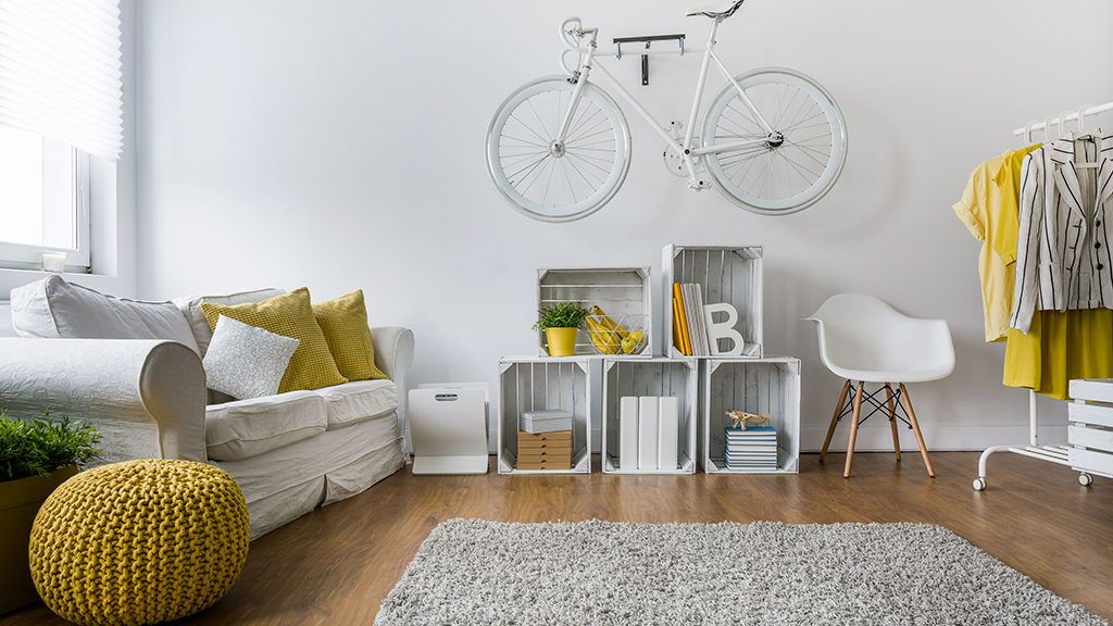 51473129 - modern living room with sofa, carpet, wood panels and bike hanging on wall