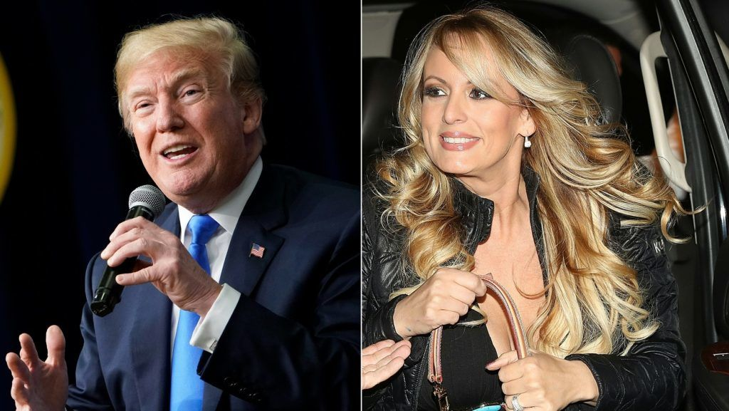 """(COMBO) This combination of pictures created on March 27, 2018 shows US President Donald Trump speaking at The Generation Next event, a White House Forum featuring millennial voters and administration officials on March 22, 2018, at the Eisenhower Executive Office Building in Washington, DC, and actress Stephanie Clifford, who uses the stage name Stormy Daniels, arriving to perform at the Solid Gold Fort Lauderdale strip club on March 9, 2018 in Pompano Beach, Florida.  US President Donald Trump on May 3, 2018 confirmed a """"reimbursement"""" as part of a hush agreement with porn star Stormy Daniels over allegations of a decade-old affair, but he said campaign money wasn't involved. Trump's comments in a series of tweets, which contradicted his earlier denials of knowledge of a payment to Daniels, came after former New York mayor Rudy Giuliani, a member of the president's legal team, said Trump reimbursed his long-time lawyer Michael Cohen for the $130,000 payment to Daniels.. / AFP PHOTO / AFP PHOTO AND GETTY IMAGES NORTH AMERICA / MANDEL NGAN AND JOE RAEDLE"""