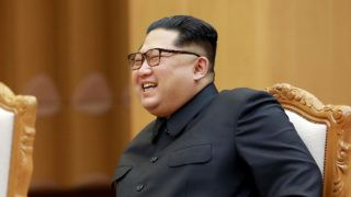 """This picture taken on May 3, 2018 and released from North Korea's official Korean Central News Agency (KCNA) on May 4, 2018 shows North Korea's leader Kim Jong Un attending a meeting with China's foreign minister at an undisclosed location in North Korea. / AFP PHOTO / KCNA VIA KNS / - /  - South Korea OUT / REPUBLIC OF KOREA OUT   ---EDITORS NOTE--- RESTRICTED TO EDITORIAL USE - MANDATORY CREDIT """"AFP PHOTO/KCNA VIA KNS"""" - NO MARKETING NO ADVERTISING CAMPAIGNS - DISTRIBUTED AS A SERVICE TO CLIENTS THIS PICTURE WAS MADE AVAILABLE BY A THIRD PARTY. AFP CAN NOT INDEPENDENTLY VERIFY THE AUTHENTICITY, LOCATION, DATE AND CONTENT OF THIS IMAGE. THIS PHOTO IS DISTRIBUTED EXACTLY AS RECEIVED BY AFP.  /"""