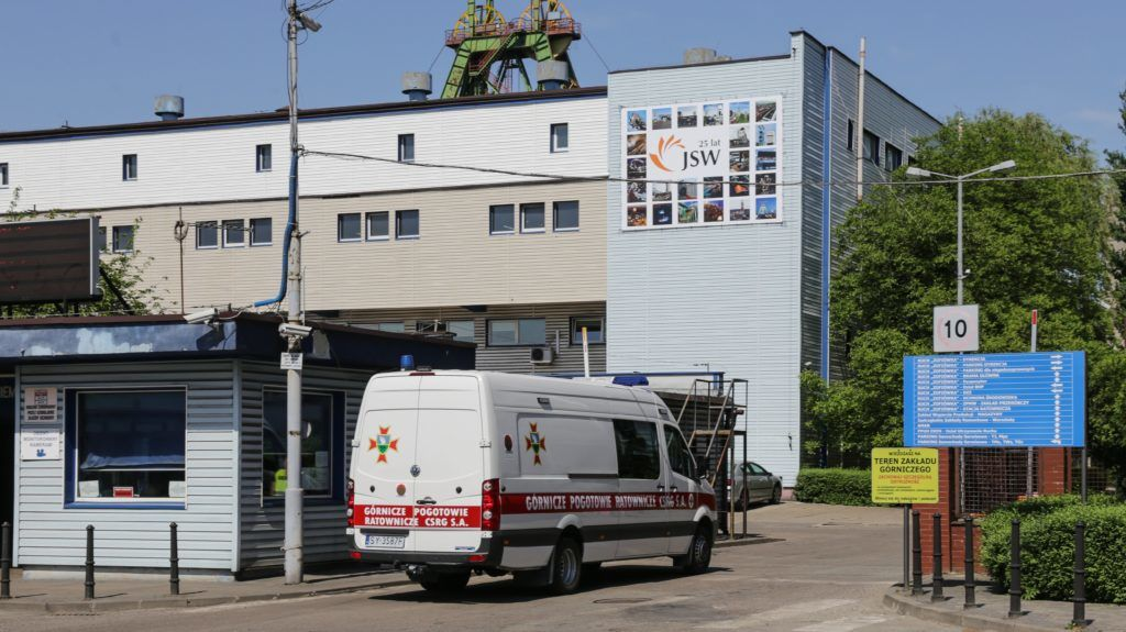 An ambulance drives near the Zofiowka mine after its was hit by a quake on May 5, 2018 in Jastrzebie-Zdroj, in the Polish southern Silesia region. Five miners are reporting missing after the quake. The quake, whose cause was not yet clear, hit the Zofiowka mine at 11:00 am (0900 GMT) about 900 metres (3000 feet) below ground level, and all the other miners have been rescued, Anna Swiniarska-Tadla, a spokeswoman for the WUG mining office told PAP news agency. / AFP PHOTO / Andrzej IWANCZUK / Poland OUT