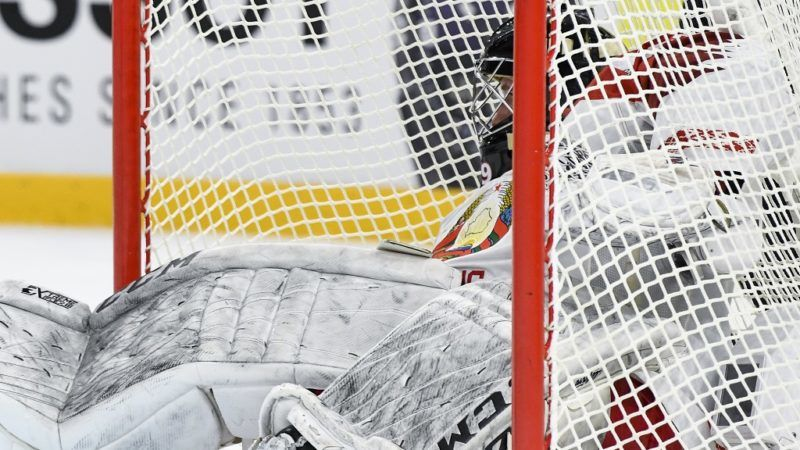 Belarus' goalie Vitali Trus reacts after a hit during the group A match Belarus vs Russia of the 2018 IIHF Ice Hockey World Championship at the Royal Arena in Copenhagen, Denmark, on May 7, 2018. / AFP PHOTO / Jonathan NACKSTRAND