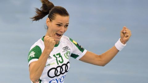 Captain Anita Görbicz of Hungarian Gyor Audi ETO celebrates after scoring during their semi-final match of the EHF Women's Champions League Final Four competiton in Budapest on May 12, 2018.  / AFP PHOTO / ATTILA KISBENEDEK