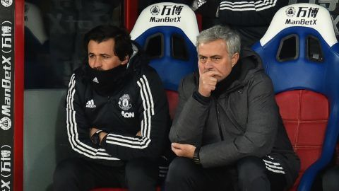 (FIles) In the file picture taken on March 5, 2018, Manchester United's Portuguese manager Jose Mourinho (R) sits beside his assistant, Rui Faria in the dugout during the English Premier League football match against Crystal Palace at Selhurst Park in south London. Manchester United announced on Saturday May 12, 2018, that Rui Faria, assistant manager for two years at United and assistant to Mourinho for 17 years, is to leave the club at the end of the season. / AFP PHOTO / Glyn KIRK / RESTRICTED TO EDITORIAL USE. No use with unauthorized audio, video, data, fixture lists, club/league logos or 'live' services. Online in-match use limited to 75 images, no video emulation. No use in betting, games or single club/league/player publications.  / XGTY