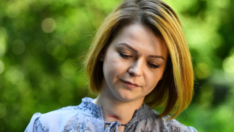"""Yulia Skripal, who was poisoned in Salisbury along with her father, Russian spy Sergei Skripal, speaks to media representatives in London, on  May 23, 2018.   The daughter of Russian spy Sergei Skripal, Yulia Skripal has said that  she wants to return to her country """"in the longer term"""", despite being poisoned with a nerve agent, according to news reports. / AFP PHOTO / POOL / DYLAN MARTINEZ"""