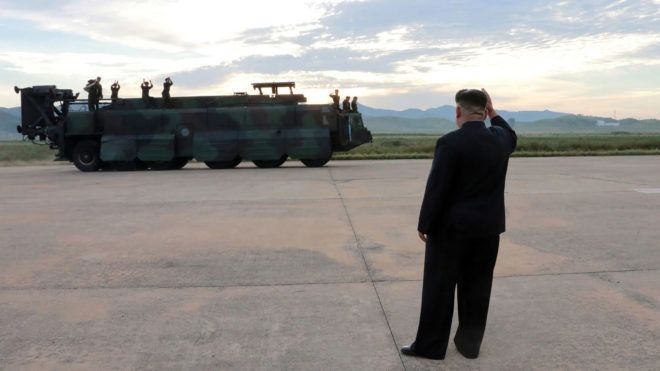 """This undated picture released from North Korea's official Korean Central News Agency (KCNA) on September 16, 2017 shows North Korean leader Kim Jong-Un (R) inspecting a launching drill of the medium-and-long range strategic ballistic rocket Hwasong-12 at an undisclosed location. Kim vowed to complete North Korea's nuclear force despite sanctions, saying the final goal of his country's weapons development is """"equilibrium of real force"""" with the United States, state media reported on September 16. / AFP PHOTO / KCNA VIA KNS / STR / South Korea OUT / REPUBLIC OF KOREA OUT   ---EDITORS NOTE--- RESTRICTED TO EDITORIAL USE - MANDATORY CREDIT """"AFP PHOTO/KCNA VIA KNS"""" - NO MARKETING NO ADVERTISING CAMPAIGNS - DISTRIBUTED AS A SERVICE TO CLIENTS THIS PICTURE WAS MADE AVAILABLE BY A THIRD PARTY. AFP CAN NOT INDEPENDENTLY VERIFY THE AUTHENTICITY, LOCATION, DATE AND CONTENT OF THIS IMAGE. THIS PHOTO IS DISTRIBUTED EXACTLY AS RECEIVED BY AFP.  /"""