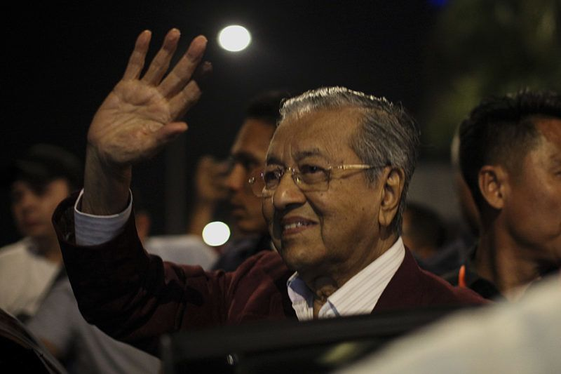 Mahathir Mohamad, chairman of 'Pakatan Harapan' (The Alliance of Hope), greets supporters ahead of a press conference at Petaling Jaya near Kuala Lumpur, Malaysia on May 10, 2018, following his victory in the 14th general election. Malaysia's opposition leader Mahathir Mohamad claimed victory over Prime Minister Najib Razak's ruling coalition Barisan National and set to become the world's oldest elected leader. The 92-year-old Mahathir made a comeback from retirement to take on his former protege Najib, who has been embroiled in a massive corruption scandal.