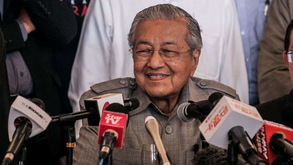 Mahathir Mohamad, chairman of 'Pakatan Harapan' (The Alliance of Hope), speaks during a press conference at Petaling Jaya near Kuala Lumpur, Malaysia on May 10, 2018, following his victory in the 14th general election. Malaysia's opposition leader Mahathir Mohamad claimed victory over Prime Minister Najib Razak's ruling coalition Barisan National and set to become the world's oldest elected leader. The +92-year-old Mahathir made a comeback from retirement to take on his former protege Najib, who has been embroiled in a massive corruption scandal.