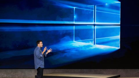 NEW YORK, NY - OCTOBER 06: Terry Myerson, executive vice president of operating systems at Microsoft, speaks at a media event for new Microsoft products on October 6, 2015 in New York City. Microsoft unveiled a virtual reality head set titled the HoloLens, a tablet titled the Surface Pro 4, a laptop titled the Surface Book, a phone titled the Lumia 950 and a biometrics wristband titled the Band 2.   Andrew Burton/Getty Images/AFP