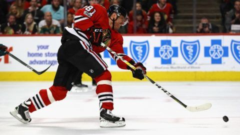 CHICAGO, IL - JANUARY 15: Marian Hossa #81 of the Chicago Blackhawks shoots against the Minnesota Wild at the United Center on January 15, 2017 in Chicago, Illinois.   Jonathan Daniel/Getty Images/AFP