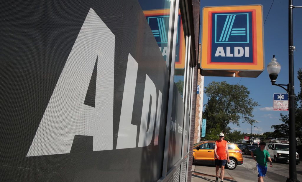 CHICAGO, IL - JUNE 12: A sign hangs outside an Aldi grocery store on June 12, 2017 in Chicago, Illinois. Aldi has announced plans to open 900 new stores in the United States in the next five years. The $3.4 billion capital investment would create 25,000 jobs and make the grocery chain the third largest in the nation behind Wal-Mart and Kroger.   Scott Olson/Getty Images/AFP