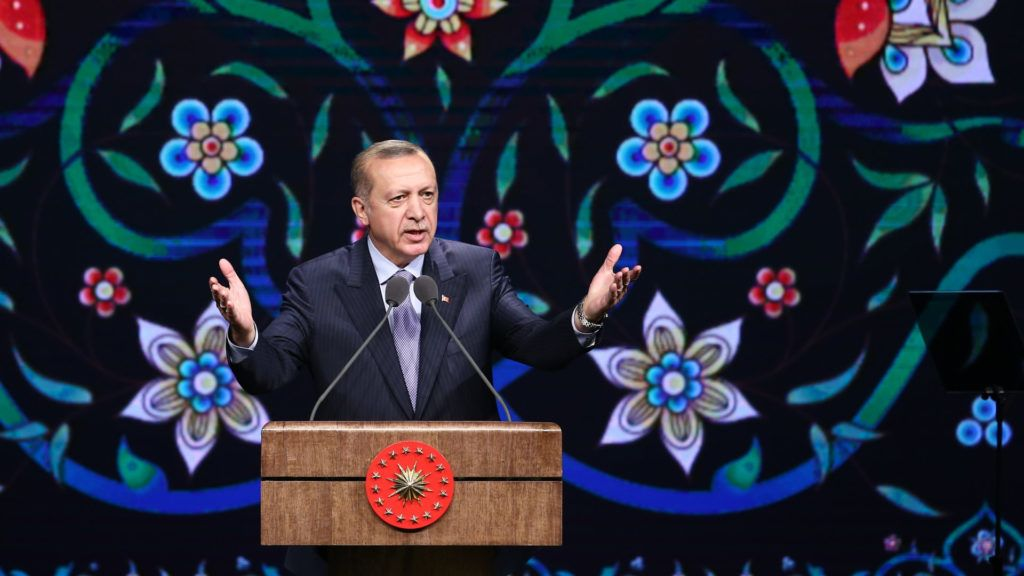 ANKARA, TURKEY - MAY 8: Turkish President Recep Tayyip Erdogan delivers a speech during a mass opening of the Foundation Week and restoration of 250 works completed in seven districts via live stream ceremony at the Bestepe Culture and Convention Center in Ankara, Turkey on May 8, 2018. Rasit Aydogan / Anadolu Agency