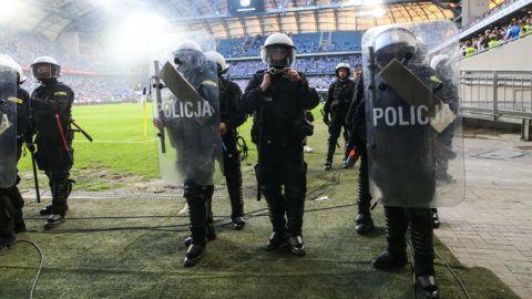 Police during Playoff Polish League football match between Lech Poznan and Legia Warsaw at Miejski Stadium in Poznan, Poland on May 20, 2018  (Photo by Foto Olimpik/NurPhoto)