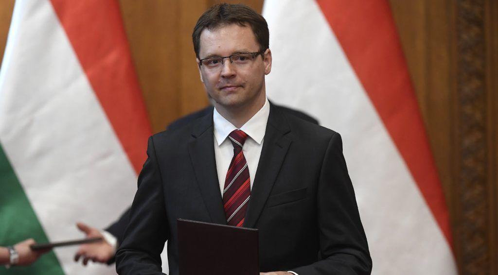 Budapest, 2018. május 22. Izer Norbert, a Pénzügyminisztérium államtitkára, miután átvette a kinevezési okmányt Áder János köztársasági elnöktõl (hátul) az Országház Vadásztermében 2018. május 22-én. MTI Fotó: Kovács Tamás