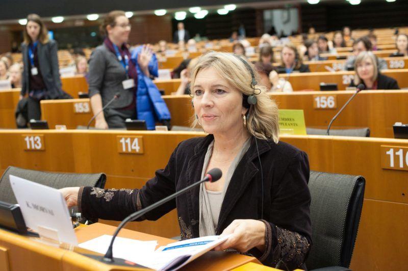 Brüsszel, 2016. november 8. Morvai Krisztina, a Jobbik EP-képviselõje az Európai Parlament (EP) brüsszeli épületének plenáris üléstermében 2016. november 8-án. MTI Fotó: Kallos Bea