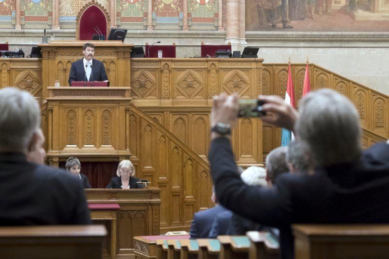 Budapest, 2018. május 8. Áder János köztársasági elnök beszédet mond az Országgyûlés alakuló ülésén 2018. május 8-án. MTI Fotó: Koszticsák Szilárd