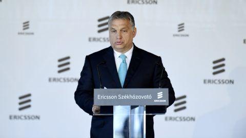 Budapest, 2018. május 29. Orbán Viktor miniszterelnök beszédet mond az Ericsson Magyarország újonnan épült budapesti székháza és fejlesztési központja, az Ericsson Ház megnyitóünnepségén 2018. május 29-én. MTI Fotó: Koszticsák Szilárd