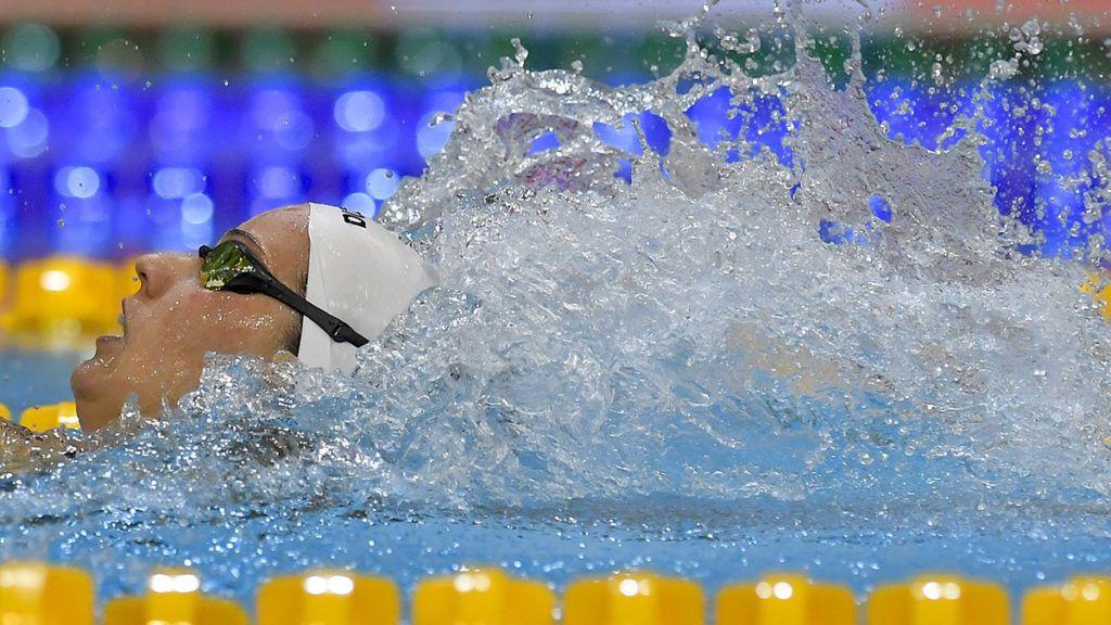 Debrecen, 2018. március 30.A későbbi győztes Burián Katalin a 200 méteres hátúszás döntőjében az úszók országos bajnokságán a Debreceni Sportuszodában 2018. március 30-án.MTI Fotó: Czeglédi Zsolt