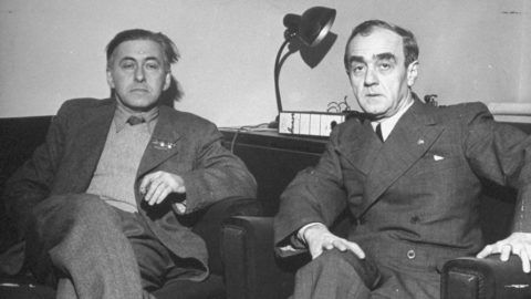 February 1946: Russian writer Ilya Ehrenburg (L) sitting with the President of the Hungarian-Russian cultural society.  (Photo by John Phillips/The LIFE Picture Collection/Getty Images)