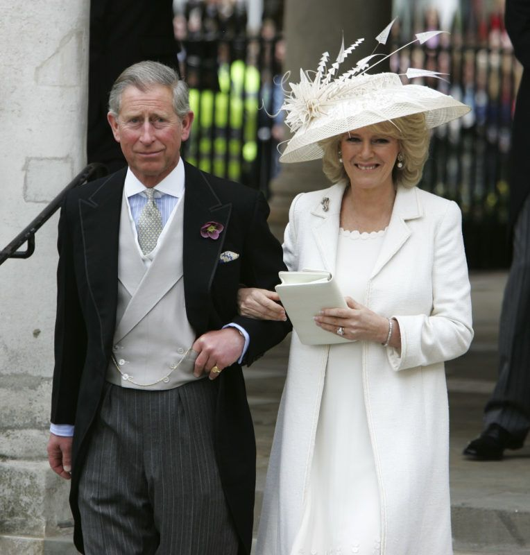 WINDSOR, ENGLAND - APRIL 09:  TRH Prince Charles, the Prince of Wales, and his wife Camilla, the Duchess of Cornwall, depart the Civil Ceremony where they were legally married, at The Guildhall, Windsor on April 9, 2005 in Berkshire, England.  (Photo by Georges De Keerle/Getty Images)