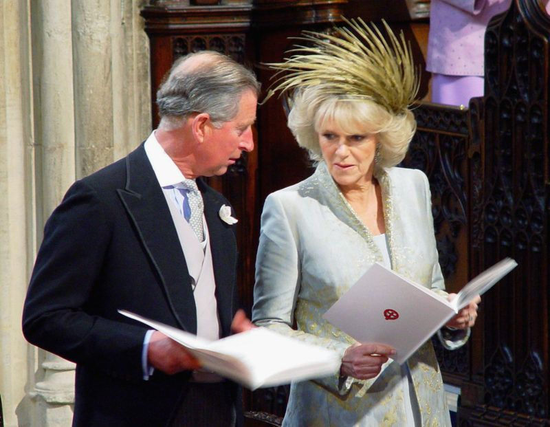 WINDSOR, ENGLAND - APRIL 9: (NO UK SALES FOR 28 DAYS) TRH Prince Charles and The Duchess Of Cornwall, Camilla Parker Bowles  attend the Service of Prayer and Dedication following their marriage at The Guildhall, at Windsor Castle on April 9, 2005 in Berkshire, England. (Photo by ROTA/Anwar Hussein Collection/Getty Images)