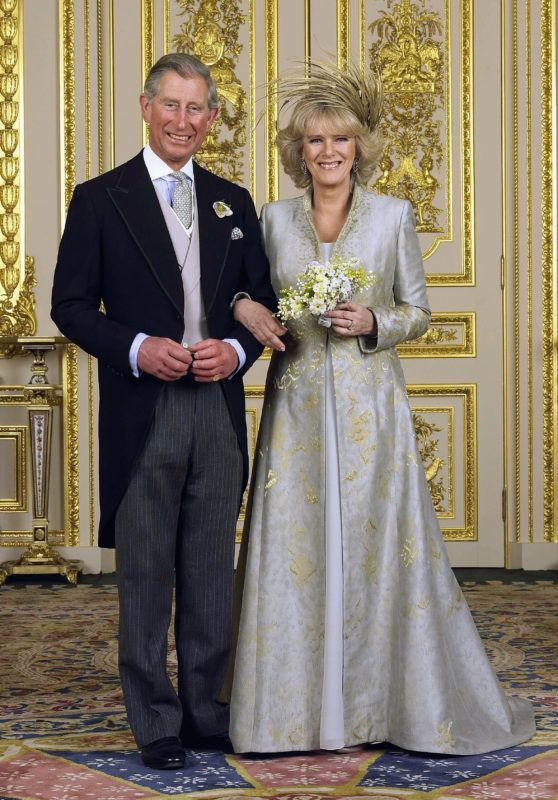 WINDSOR, ENGLAND - APRIL 9:  (EMBARGOED TILL 0001 BST MONDAY 11 APRIL 2005) TRH Prince Charles and The Duchess Of Cornwall, Camilla Parker Bowles pose in the white drawing room for the Official Wedding group photo following their earlier marriage at The Guildhall, at Windsor Castle on April 9, 2005 in Berkshire, England. (Photo by Hugo Bernand/ROTA/Anwar Hussein Collection/Getty Images)