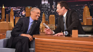 """NEW YORK, NY - JUNE 08: President Barack Obama speaks with Jimmy Fallon on the set of the """"The Tonight Show Starring Jimmy Fallon"""" on June 8, 2016 in New York City. President Obama is the first sitting president to appear on the show. (Photo by Thomas A. Ferrara-Pool / Getty Images)"""