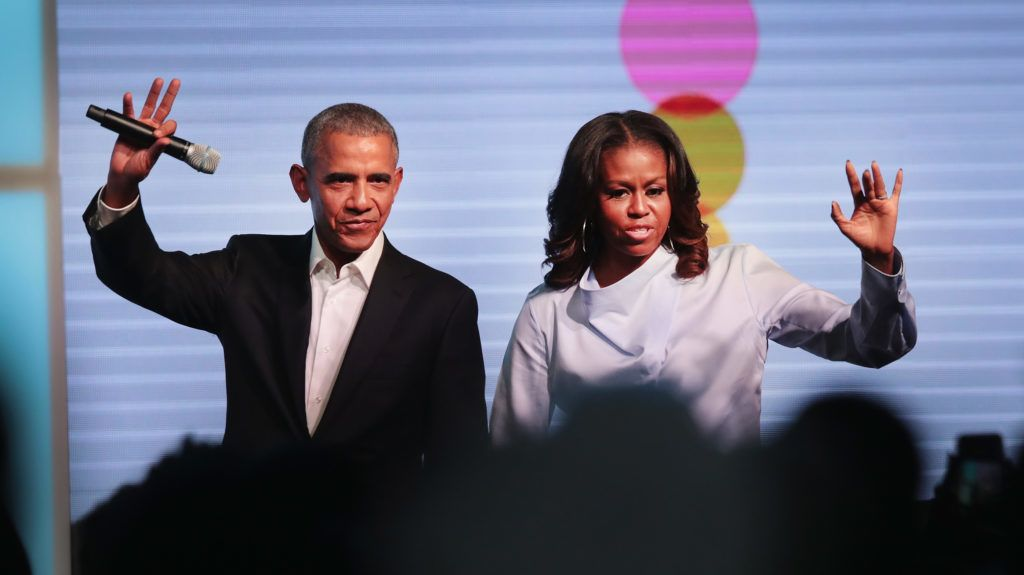 CHICAGO, IL - OCTOBER 31:  Former president Barack Obama and first lady Michelle Obama greet guests at the inaugural Obama Foundation Summit on October 31, 2017 in Chicago, Illinois. The  two-day event is scheduled to feature a mix of community leaders, politicians and artists exploring creative solutions to common problems, and experiencing art, technology, and music from around the world.  (Photo by Scott Olson/Getty Images)