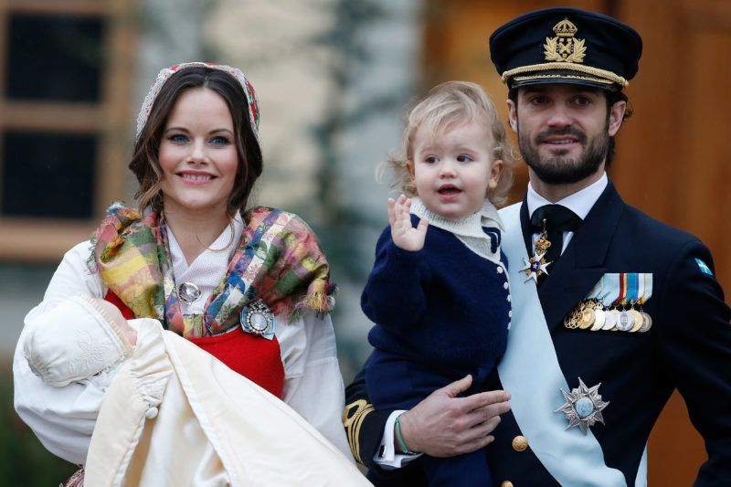 STOCKHOLM, SWEDEN - DECEMBER 01:  Prince Gabriel of Sweden, Duke of Dalarna held by Princess Sofia of Sweden and Prince Carl Philip holding Prince Alexander, Duke of Sodermanland is the second child of  and attends the christening of Prince Gabriel of Sweden at Drottningholm Palace Chapel on December 1, 2017 in Stockholm, Sweden.  (Photo by Michael Campanella/Michael Campanella/Getty Images)