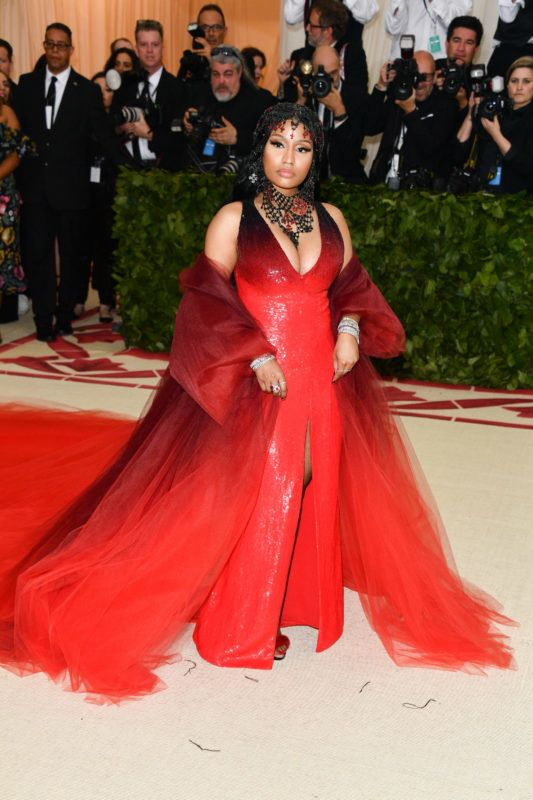 NEW YORK, NY - MAY 07:  Nicki Minaj attends the Heavenly Bodies: Fashion & The Catholic Imagination Costume Institute Gala at the Metropolitan Museum of Art on May 7, 2018 in New York City.  (Photo by George Pimentel/Getty Images)