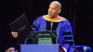 NEW YORK, NY - MAY 30:  Actor Vin Diesel speaks at Hunter College 2018 Commencement ceremony and receives his Honorary Doctor of Humane Letters at Radio City Music Hall on May 30, 2018 in New York City.  (Photo by Roy Rochlin/Getty Images)