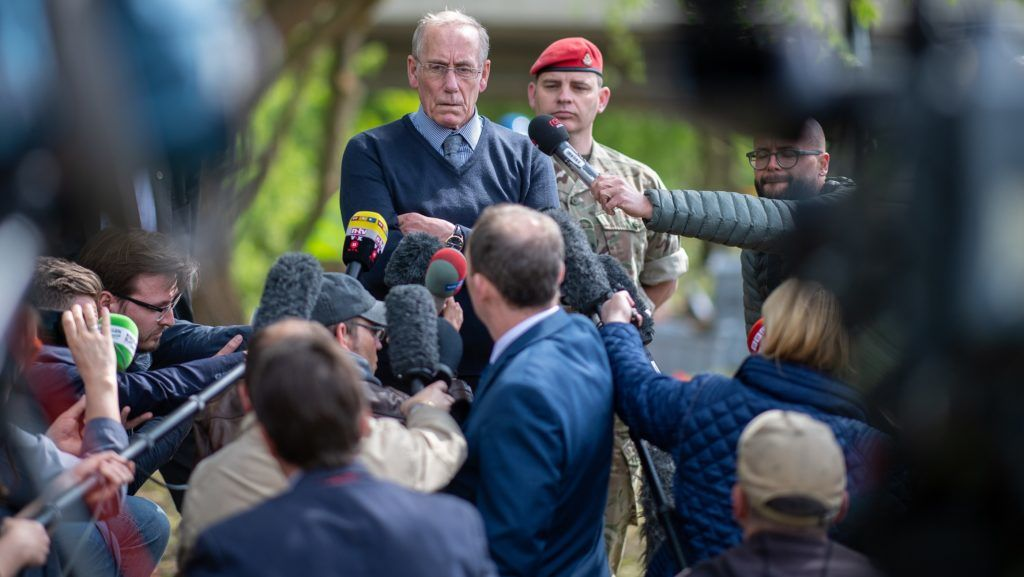 03 May 2018, Germany, Paderborn: Richard Lee, the father of the missing Katrice Lee, issues statements for the press.After more than 36 years of two year old Katrice's disappearance is the British military police still searching for traces of the girl on the riverbank in Padernborn. The search for traces is meant to last five weeks. The child of a British soldier disappeared on her second birthday in a mall in Paderborn. It was impossible to find her despite a large operation conducted by the military, the German police and the general public. Photo: Guido Kirchner/dpa