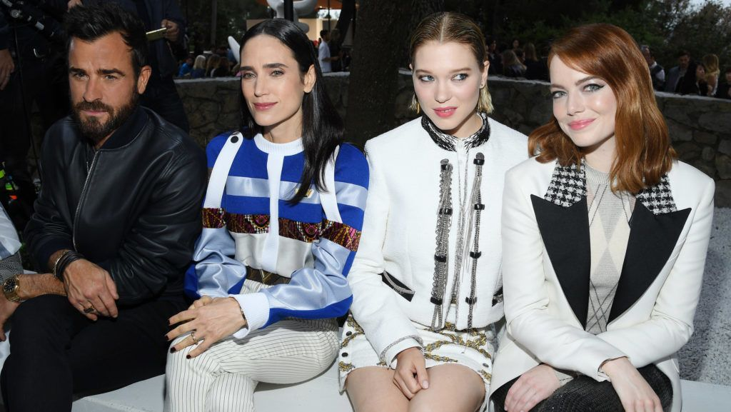 SAINT-PAUL-DE-VENCE, FRANCE - MAY 28:  (l-R) Justin Theroux, Jennifer Connelly, Lea Seydoux and Emma Stone attend Louis Vuitton 2019 Cruise Collection at Fondation Maeght on May 28, 2018 in Saint-Paul-De-Vence, France.  (Photo by Pascal Le Segretain/Getty Images for Louis Vuitton)