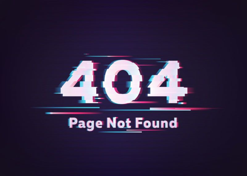 404 Error. Page Not Found. Glitch Vector Illustration