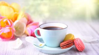 Mother's day.Morning coffee and macaroons.Macaron.