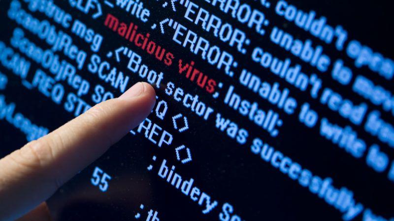 Computer security concept. Virus in program code