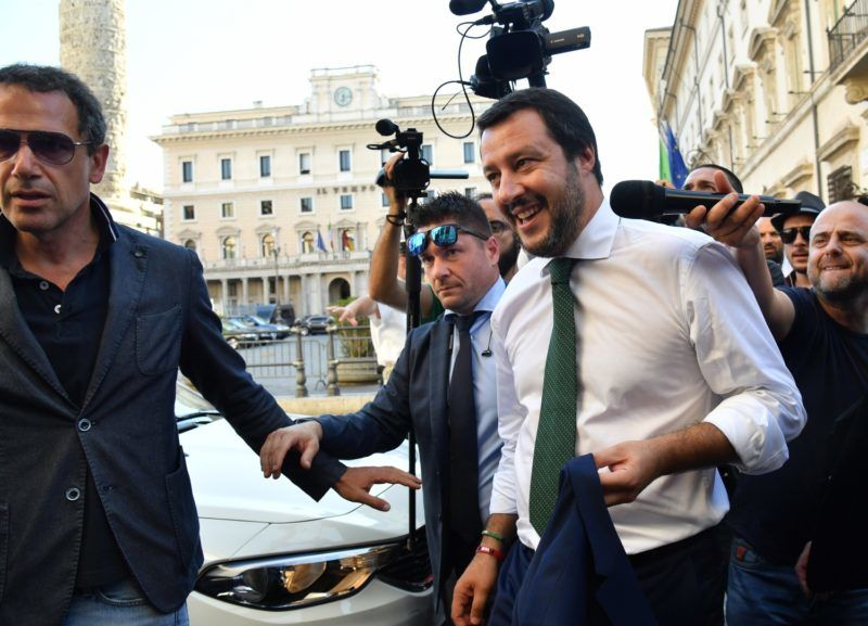 Italy's Interior Minister and deputy Prime Minister Matteo Salvini (R) leaves at the end of the first cabinet meeting at Chigi Palace in Rome on June 1, 2018.   An anti-establishment government took power in Italy on June 1 after a last-ditch coalition deal was hammered out to end months of political turmoil, narrowly avoiding snap elections in the eurozone's third largest economy. / AFP PHOTO / Andreas SOLARO