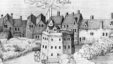 Londres (Angleterre). Le théâtre du Globe fondé en 1599 et dont Shakespeare fut actionnaire. Gravure XVIIIčme sičcle.     RV-366613