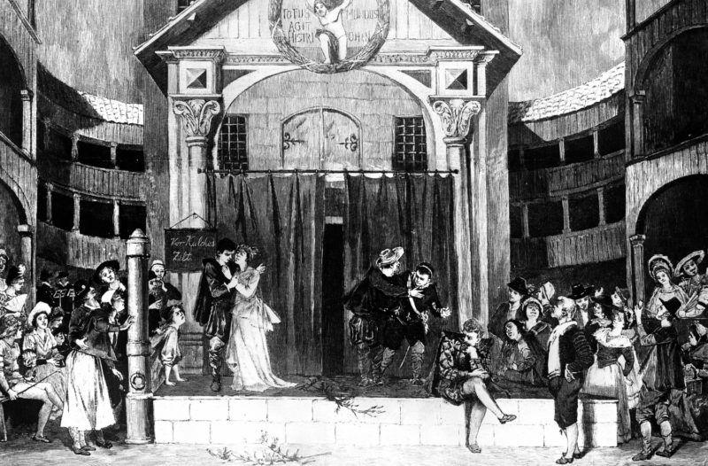 Représentation d'une pièce de théâtre de William Shakespeare (1564-1616), dramaturge anglais. Gravure XIXème siècle.     RV-343478