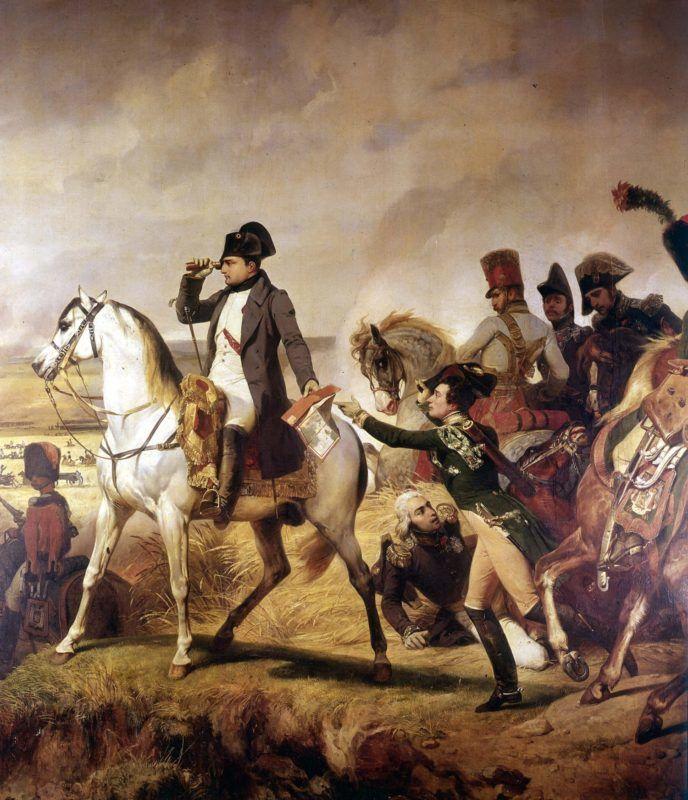 Napoléon à Wagram (détail), 5-6 juillet 1809, par Horace Vernet (1789-1863). Musée de Versailles.   RVB-930417
