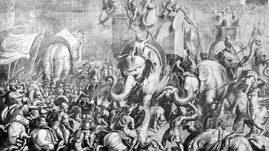 La bataille de Zama (Afrique, seconde guerre punique, 202 avant J.-C.) remportée par Scipion l'Africain sur les troupes d'Hannibal. Dessin. Paris, musée du Louvre.     RV-431131