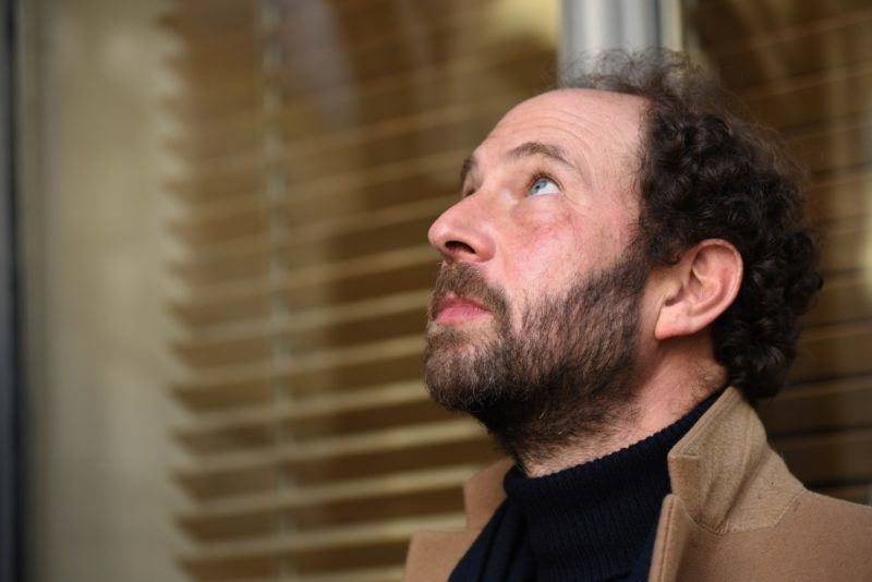 """This picture shows French writer Olivier Guez after being awarded with the Prix Renaudot for """"La Disparition de Josef Mengele"""", or """"The Disappearance of Josef Mengele"""" on November 6, 2017 at the restaurant Drouant in Paris."""