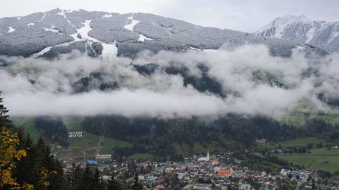 """SCHLADMING - Austria: Feature - Preparation for the finish area at the Planai in Schladming. The FIS World Ski Championships 2013 is going to take place there.  APA-PHOTO: BARBARA GINDL (Photo credit should read """"BARBARA GINDL/APA-PictureDesk via AFP"""")"""