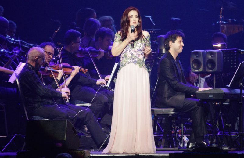 """Priscilla Presley during concert """"Elvis In Concert 2017 - The King Live On Screen"""" in Vienna, Austria, on 22 nd May 2017. (Photo credit should read """"GEORG HOCHMUTH/APA-PictureDesk via AFP"""")"""
