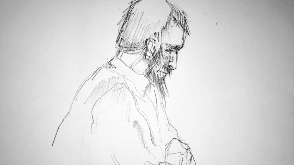 A courtroom sketch make on February 20, 2018 shows Rakhmat Akilov, who pleaded guilty to terrorism charges for an April 2017 Stockholm truck attack, in a courtroom during his trial at Stockholm dictrict court. A rejected Uzbek asylum seeker, who pleaded guilty to an  April 2017 Stockholm truck attack that killed five people, was to address a court the third day of his trial. / AFP PHOTO / TT News Agency / Johan HALLNAS / Sweden OUT