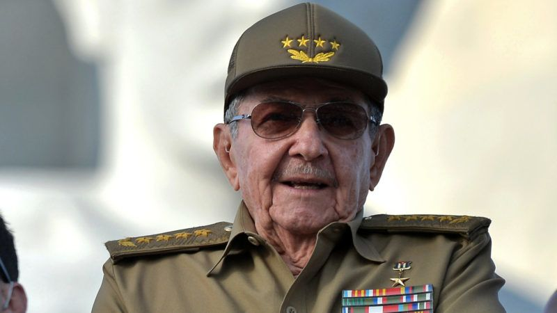 Former Cuban President Raul Castro attends the May Day rally at Revolution Square in Havana on May 1, 2018. / AFP PHOTO / Yamil LAGE